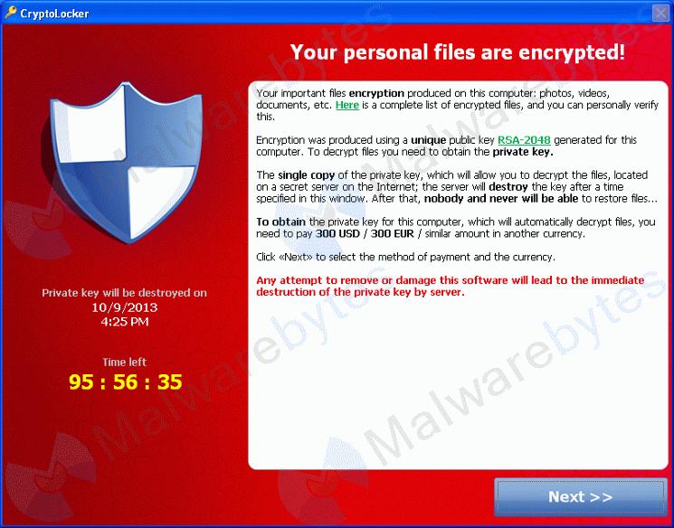 Messaggio di Cryptolocker che richiede riscatto